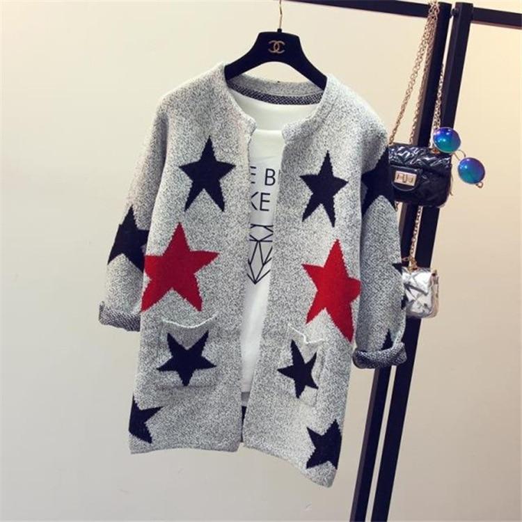 אופנה כוכב דפוס סוודרים נקבה סוודרים ארוך שרוול סרוג Slim נשים סוודר קרדיגן