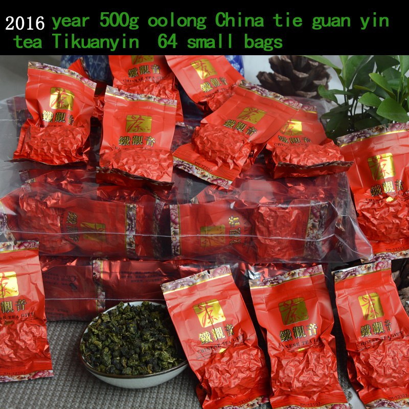 2016 New tea 500g top grade Chinese Anxi Tieguanyin oolong China health care products Tikuanyin 64 SMALL bags