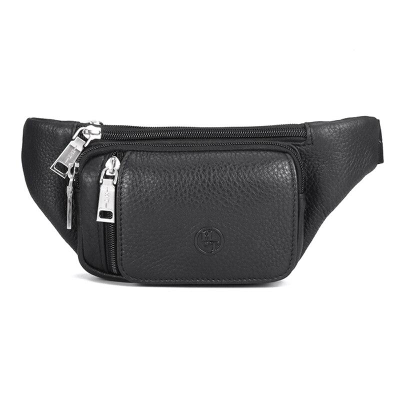Genuine Leather Men's Waist Bag Brand Designer Leather Casual Waist Belt Pack High Quality Waist Belt Bag Male Black Zipper