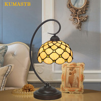 European Vitnage Table Lamp Stained Glass Bedside Table Light Study Living Room Restaurant Bar Table Lamp