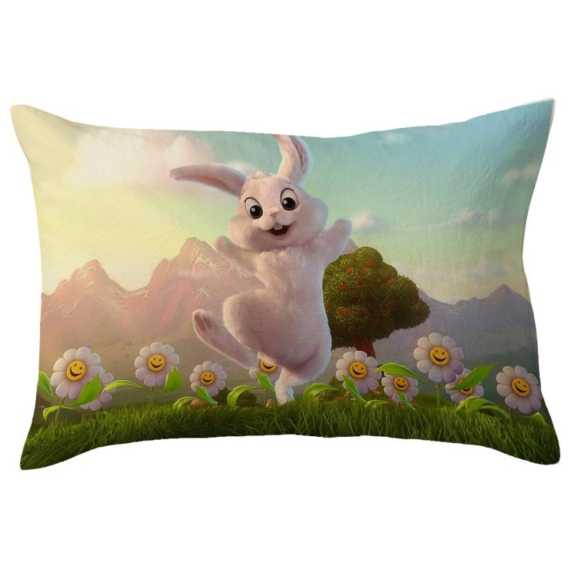 Happy Easter Eggs Linen Throw Pillow Case Easter Bunny Pillow Cover Decorative Pillows F ...