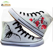 JUP Boys Girls Student Kids Baby Cartoon Death Note Cat Pink Snow White Princess Castle Rabbit Hand Painted Canvas Fashion Shoes