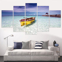 Canvas Painting Blue Ocean Yellow Boat Seascape Oil Picture Wall Art Poster Seaview Art Print Modern