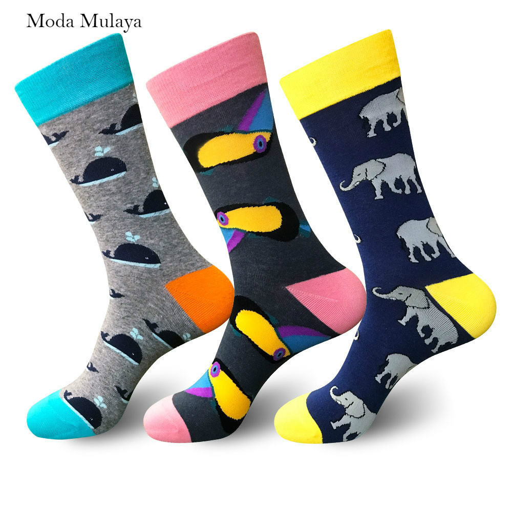 2019 Men's Happy Socks New Arrival Men 100% Cotton Thermal Funny Socks Novelty Crew Skateboard Hip-pop Streetwear Socks For Men