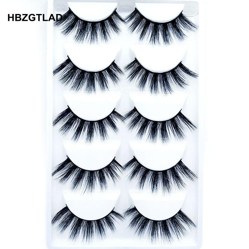 2018 NEW 5 pairs 100% Real Mink Eyelashes 3D Natural False ...