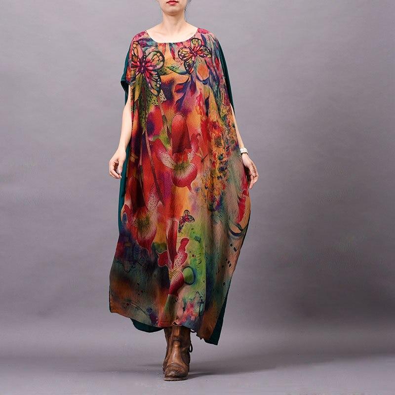 Femmes élégant imprimé lâche Robe irrégulière grande taille Vintage Robe Robe imprimé Floral soie surdimensionné vestidos de fiesta de noche