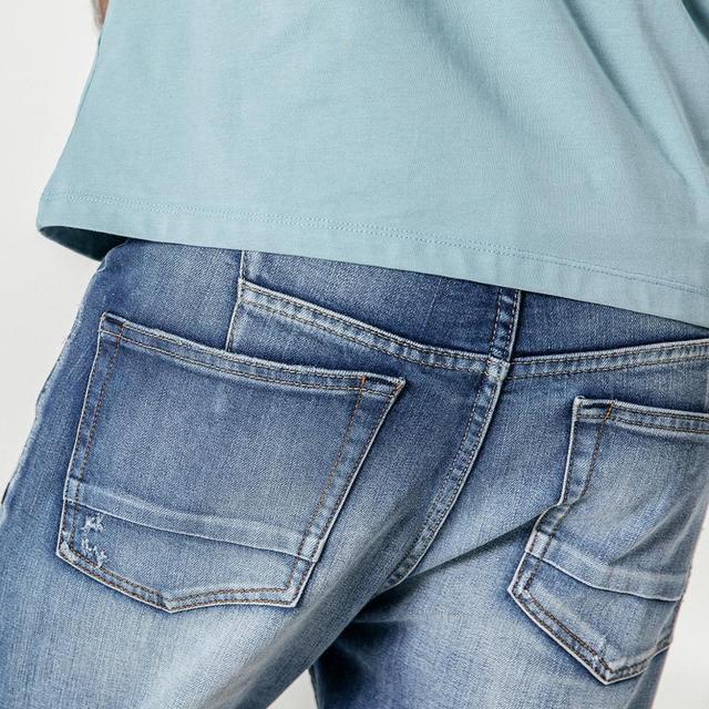 Men's Jeans Light Wash Fashion Ankle-Length Slim Fit