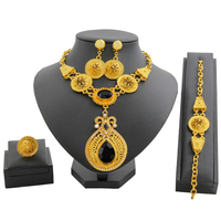 Dubai Gold Jewelry Sets for Women hot AAA Crystal Necklace Bracelet Ring Earrings Fine Wedding Engagement Jewelry Gift