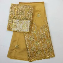 2017 Beaded African George Lace Fabric With Blouse gold Sequined For India  Wedding Dress Nigeria George b94f0d1864c3
