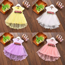 2017 New Adorable Toddler Baby Girls Summer Floral Lace Dress Princess Party Wedding Tulle Dresses Clothes Outfits 0-3Y