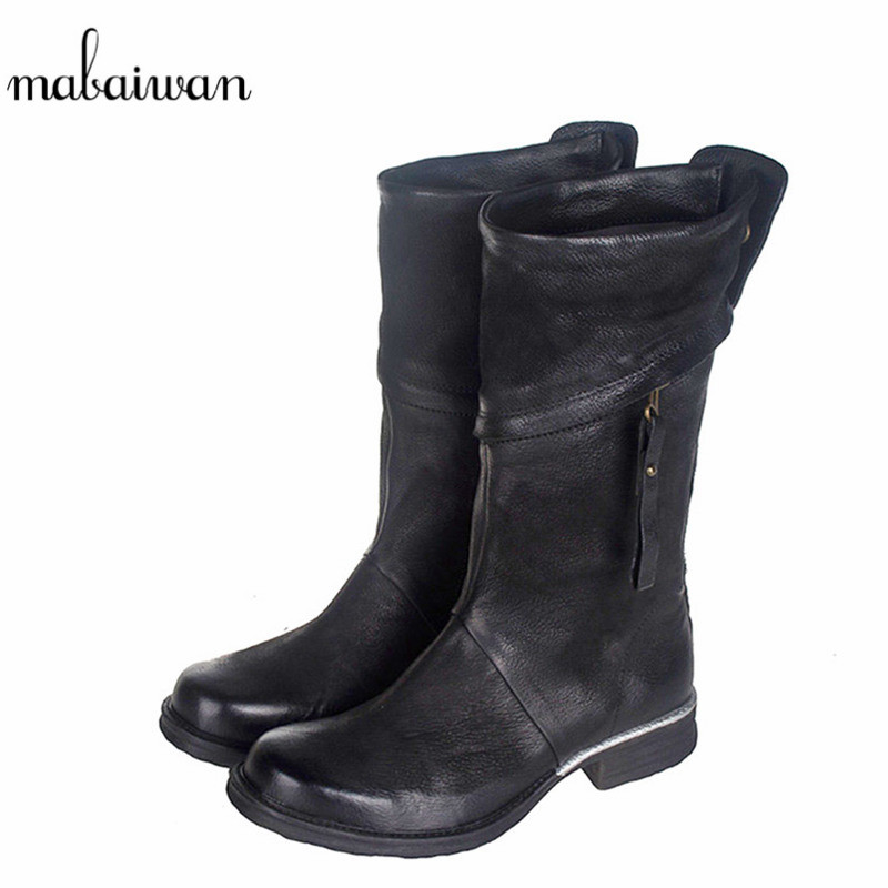Mabaiwan 2017 Fashion Women Shoes Mid Calf Gnuine Leather Square Heel font b Boots b font