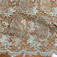 Thickened Polyester Embroidered Water Soluble Lace Fabric Transparent Heavy Lace Textured Fabric Luxury Dress Fabric 125cm