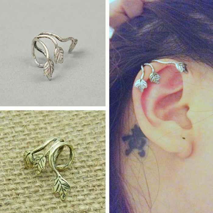 Hot Sale Fashion Vintage Bronze Silver Color Statement Leaves Crescent Ear Hook Clip Earrings for Women Jewelry Brinco Oorbellen