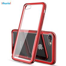 For iPhone X 10 8 7 6 6s Plus Case luxurious Plating TPU Bumper Transparent Tempered Glass Back Cover For iPhone X 8 7 6 6s Plus militech 6 x 8