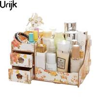 Urijk Wooden Storage Box Jewelry Container Makeup Organizer Case Handmade DIY Assembly Cosmetic Organizer Wood Box For Office