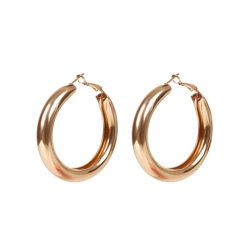 Big Gold Hoops Earrings Minimalist Thick Tube Round Circle ...