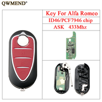 QWMEND Flip Remote Key For Alfa Romeo 147 156 166 GT 433Mhz Replacement Car Key Fob Chip ID46/PCF7946 3Buttons