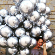 12pcs 12inch Metallic balloon Chrome Balloons Latex Wedding Birthday Party Decoration Gold Silver Balloons Baby Bridal