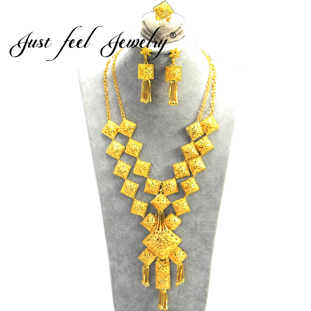JUST FEEL géométrique couleur or bijoux arabes ensembles pour femmes Double collier boucles d'oreilles anneau moyen-orient mode fête bijoux