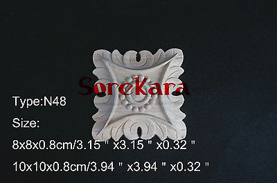 N48 -8x8x0.8cm Wood Carved Long Square Applique Flower Frame Door Decal Working Carpenter