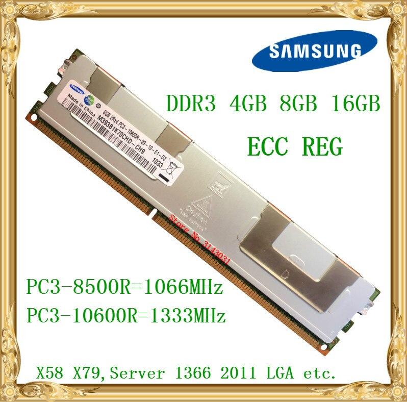 Samsung DDR3 4 GB 8 GB 16 GB de memoria del servidor 1066 1333 MHz ECC REG DDR3 PC3-10600R 8500R registro RIMM RAM X58 X79 placa base uso