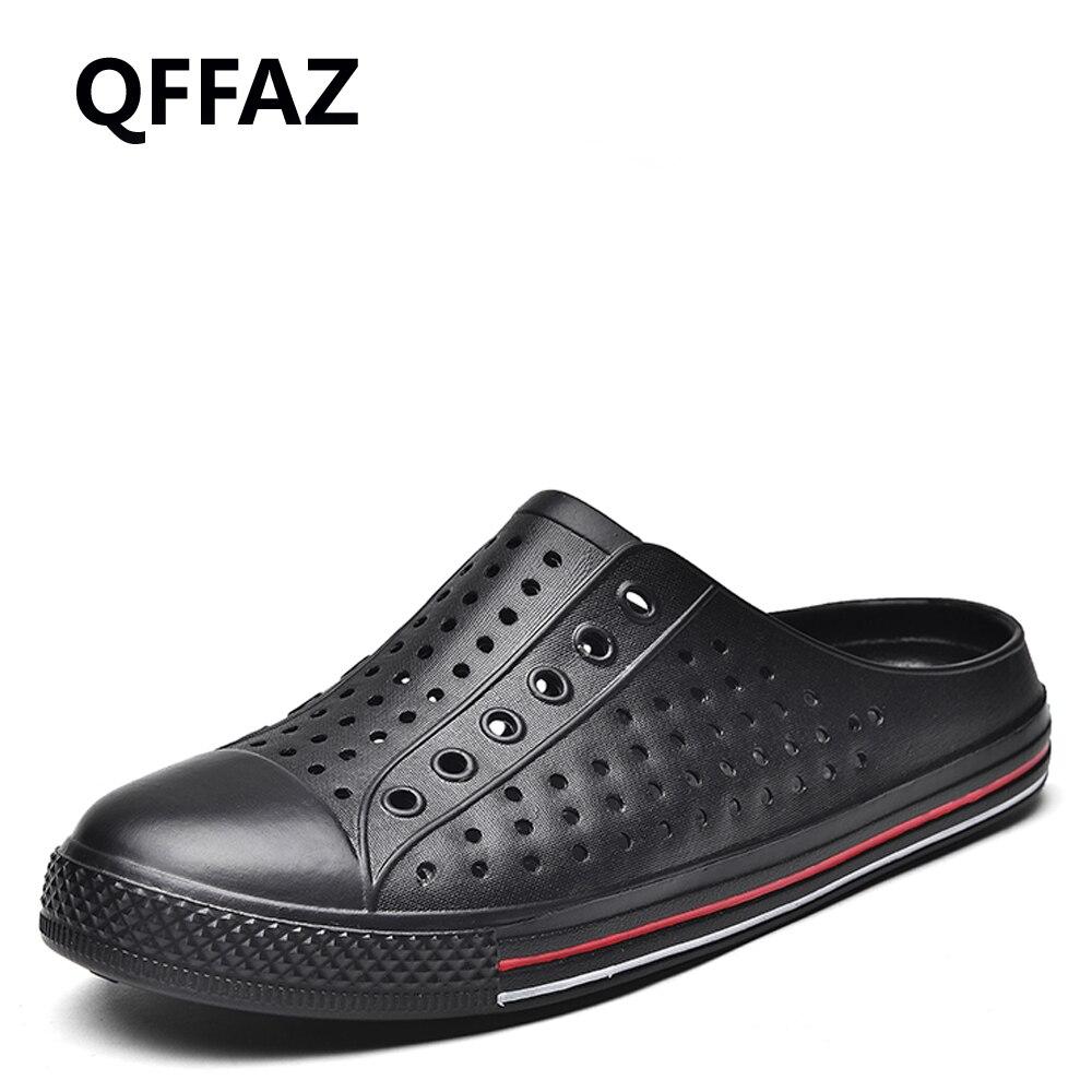 QFFAZ Soft Men Beach Sandals Memory Foam Comfortable Clogs Casual Garden Shoes For Men Slip On Hospital Work Shoes Big Size 45