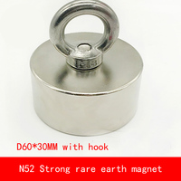 1PCS D60*30mm Large block N52 Strong magnetic force NdFeB rare earth Neodymium magnet with hook permanent diameter 60X30MM
