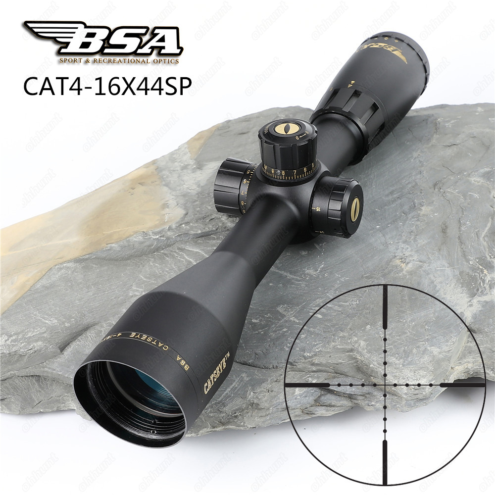 Hunting BSA Catseye 4-16X44 SP Optics Riflescopes Side Parallax Mil-dot Reticle Turrets Lock Integrated Sunshade Rifle Scopes tactical bsa catseye 6 24x44 sp optical sight side parallax riflescope mil dot hunting rifle scope