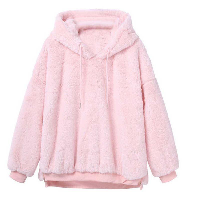 2019 נשים נים חולצות החורף חם סלעית חולצות Loose רך חמוד מעיל Harajuku גבירותיי בסיסית Kawaii חולצות סוודרים