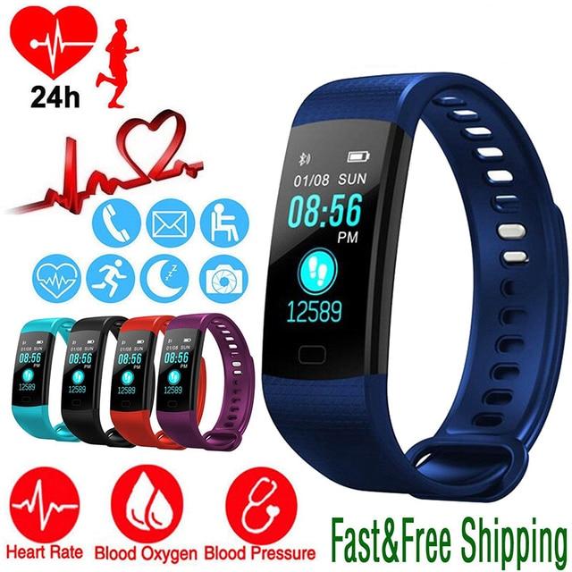 Reloj inteligente deportes actividad Monitor de ritmo cardíaco sangre presión pulsera IP67 impermeable banda podómetro para IOS Android