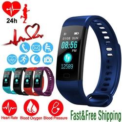 Smart Watch Olahraga Kebugaran Aktivitas Pelacak Denyut Jantung Tekanan Darah Gelang IP67 Tahan Air Band Pedometer untuk IOS Android