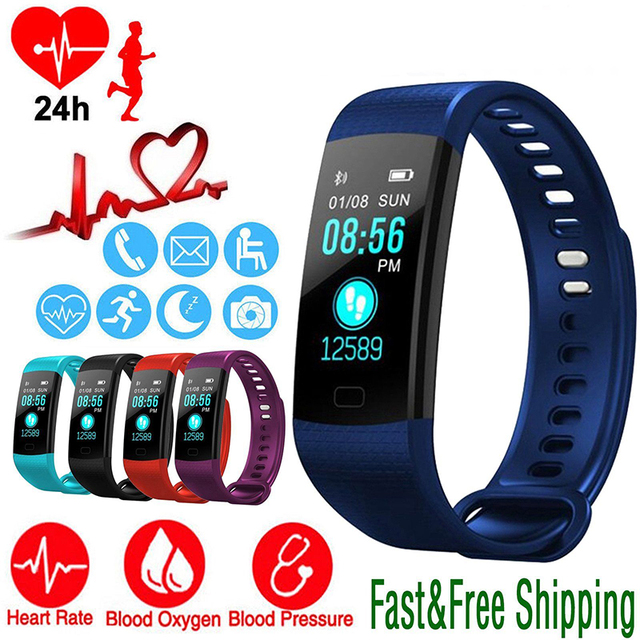 6afbe7393d58 US $11.99 22% OFF|Smart Watch Sports Fitness Activity Heart Rate Tracker  Blood Pressure wristband IP67 Waterproof band Pedometer for IOS Android-in  ...