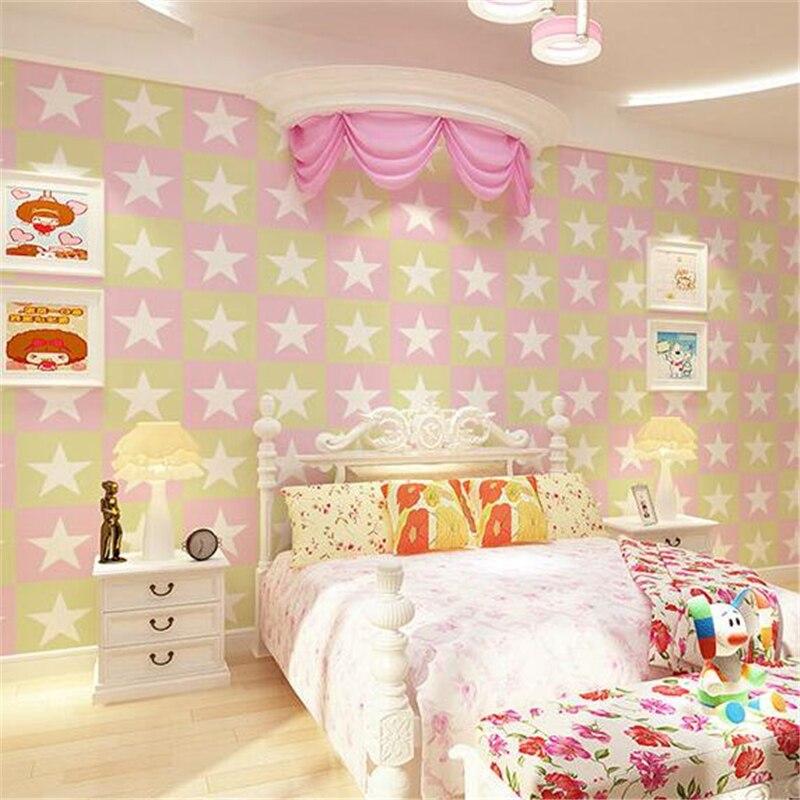 Beibehang Papel de parede américain cinq branches étoile chambre d'enfant papier peint britannique mode simple chambre fond d'écran