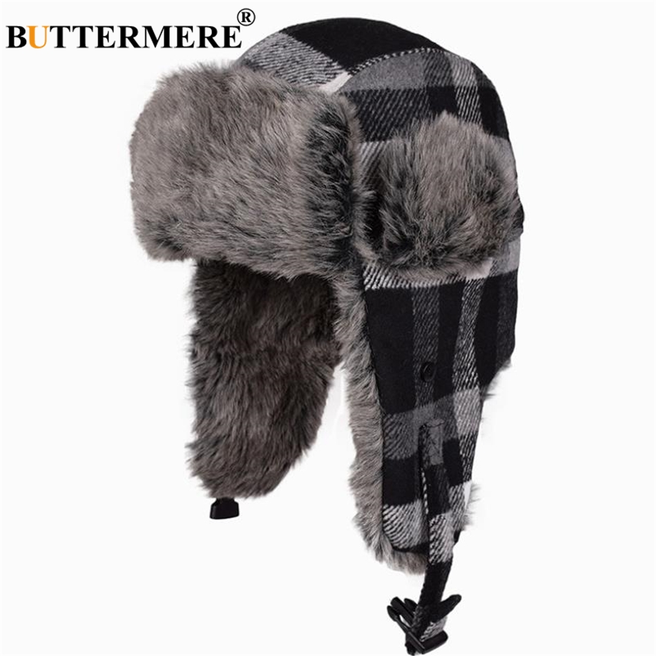 d0857110bd3 BUTTERMERE Winter Bomber Hat Women Men Grey Plaid Russian Ushanka Hats Warm  Thick Ski Male Female