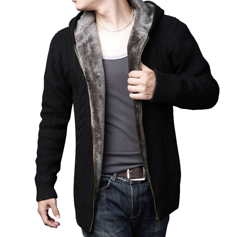 Fashion men s Hooded Sweater jacket winter Mens Wool Velvet lining Cardigan male Solid color Thick