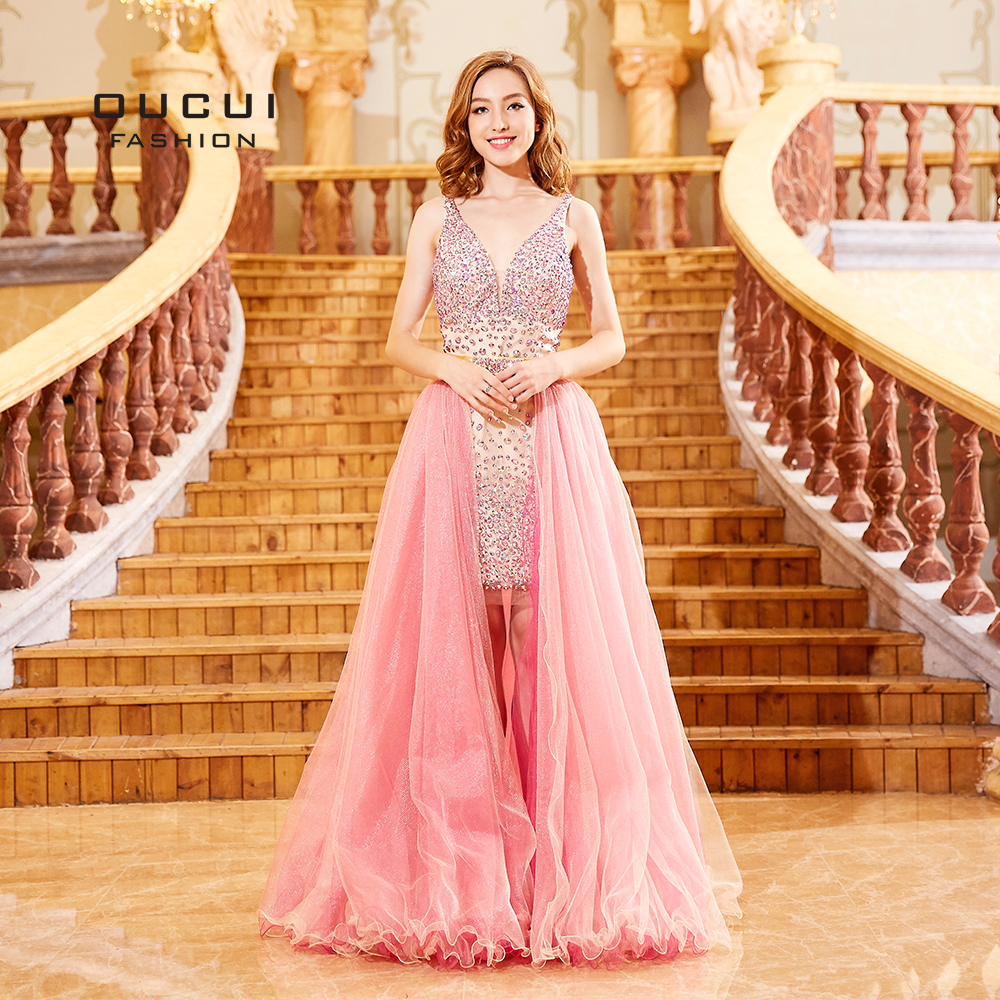 Red Robe Cocktail Dresses 2018 Evening Party V Neck Tulle Beaded Ball Gown Detachable Train Sheath short Prom Dress OL102304