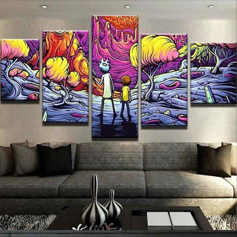 Decorate The Psychedelic Rick And Morty Canvas Set High