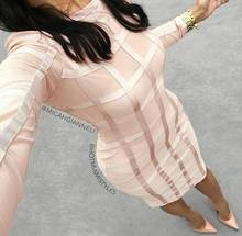 wholesale New dress Beige and black Gauze Perspective Sexy Cocktail party Bandage dress (L1029)