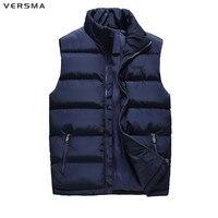 VERSMA Autumn Winter Fleece Sleeveless Jacket Coat Down Vest Men Waistcoat Weste Korean Slim Fit Gilet Men Cowboy Vests Men 6XL