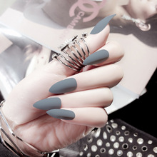 24pc Matte Fake Nails Tips Classic Gray Matte False Nails Long Stiletto Full Cover Nail Tips Artificial Oval Sharp Fake Nail
