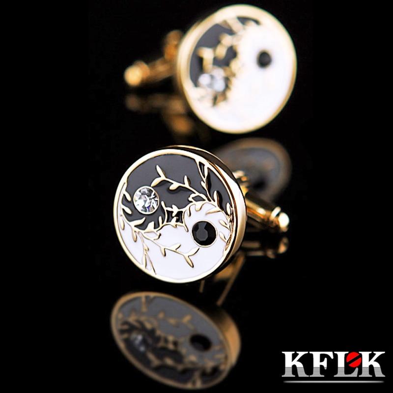Мужские Запонки KFLK shirt Tai Chi, Свадебные Запонки с кристаллами, кнопки-звенья, высокое качество, китайский стиль, для гостей, золотой цвет