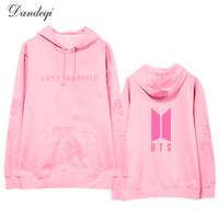 KPOP BTS love yourself album Pink Hoodie Women Men Winter Korean Fashion BTS Bangtan Boys Harajuku Sweatshirt Sudaderas Mujer