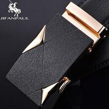 JIFANPAUL брендовый ремень для мужчин, высокое качество, настоящая роскошь, модный сплав, автоматическая пряжка, золотое украшение, мужские деловые кожаные ремни