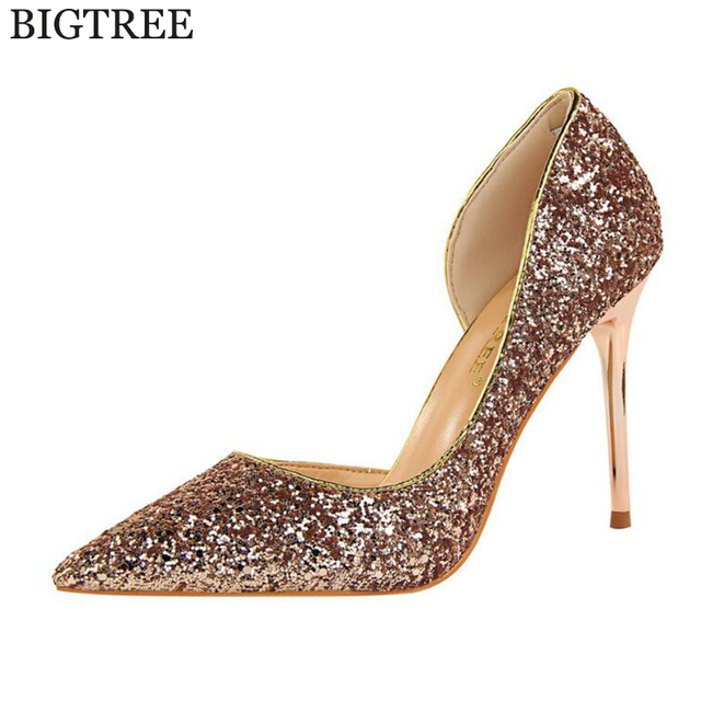 Us 2222 34 Offbigtree New 2017 Spring Women Pumps Sexy Black Gold Silver  High Heels Shoes aa6413d85627