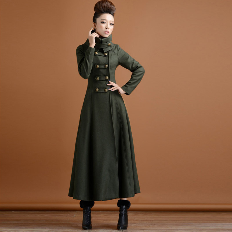 bd5bd73a463 2017 New women army green jacket women vintage stand collar double-breasted  slim long wool