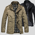 2016 high quality mens plus size jacket M-5XL male casual jacket coat stand collar badge windproof jackets black khaki