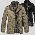 2016 mens de la alta calidad más el tamaño M-5XL chaqueta masculina capa ocasional de la chaqueta del collar del soporte de placa a prueba de viento chaquetas de color caqui negro