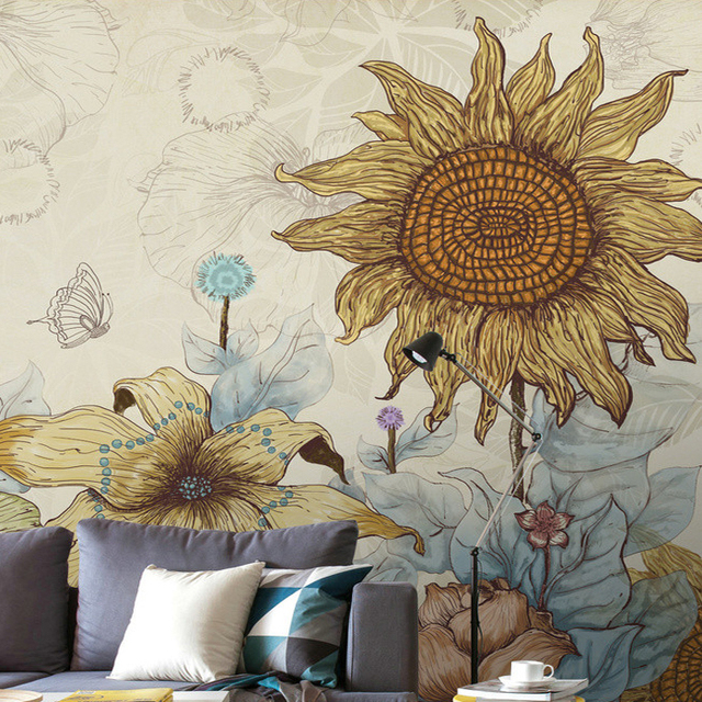 Comics Sunflower Wallpaper Warm Vintage Large Mural Wall Covering Three 3d Background Clothing Fashion