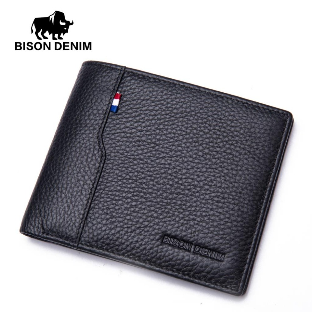BISON DENIM fashion men wallets genuine leather slim bifold wallet male card holder pocket purse