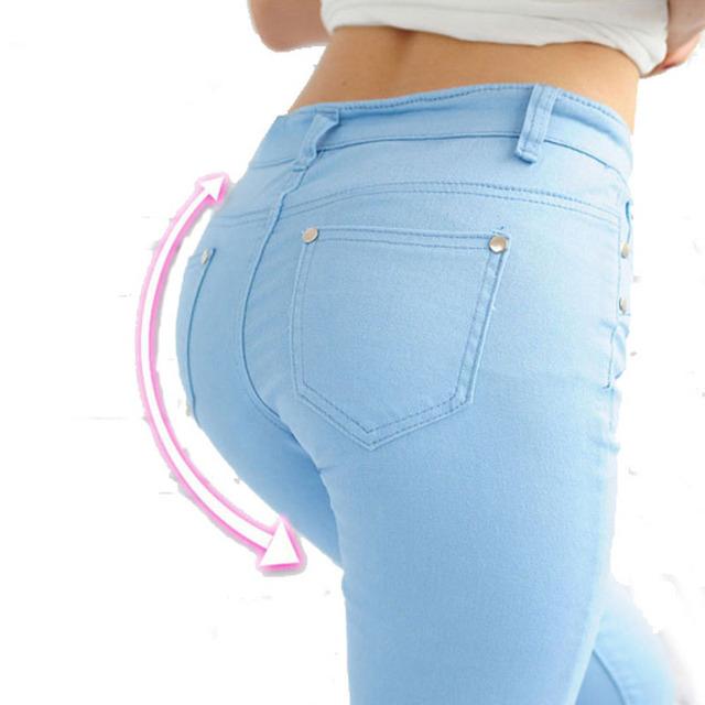 Jeans skinny jeans mulheres lápis calças elásticas transporte da gota feminino Mulheres Cores Doces Calças Lápis Leggings Jeans Stretch Calças